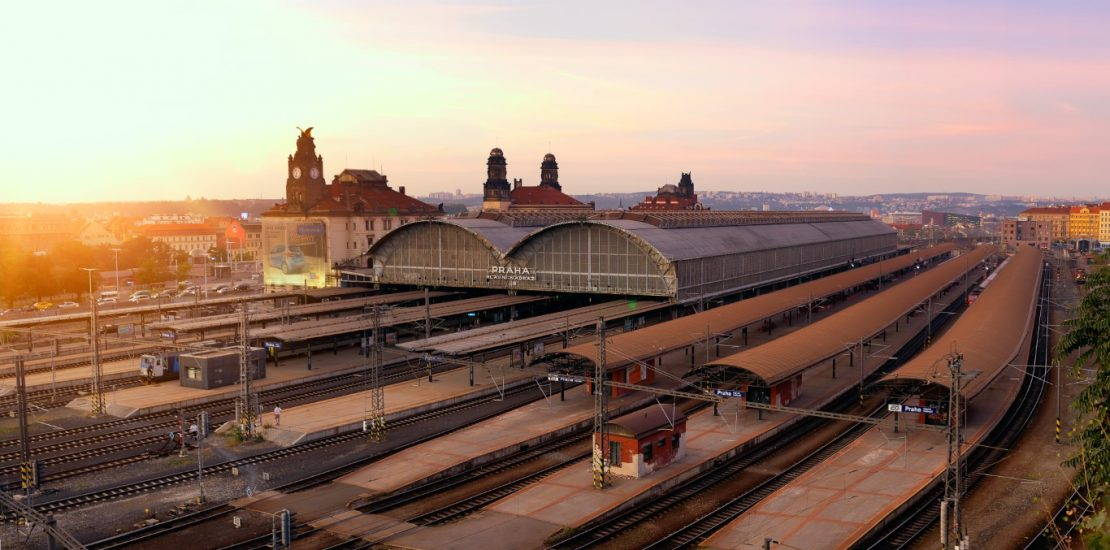 The end of the day and sunset on the railway station